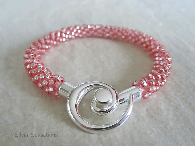 Shiny Silvery Pastel Pink Beaded & Braided Woven Kumihimo Bracelet