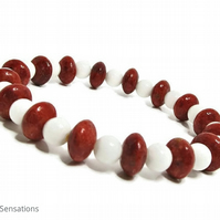 Snow White Agate & Red Sponge Coral Rondelle Discs Beaded Fashion Bracelet
