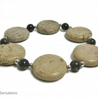 Coffee Jasper & Light Brown Sand Jasper Coin Bead Bracelet With Sterling Silver