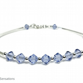 Sterling Silver Bangle Style Bracelet With Light Purple Swarovski Crystals