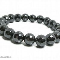 Grey Black Hematite Faceted Round Beads Chunky Unisex Fashion Bracelet