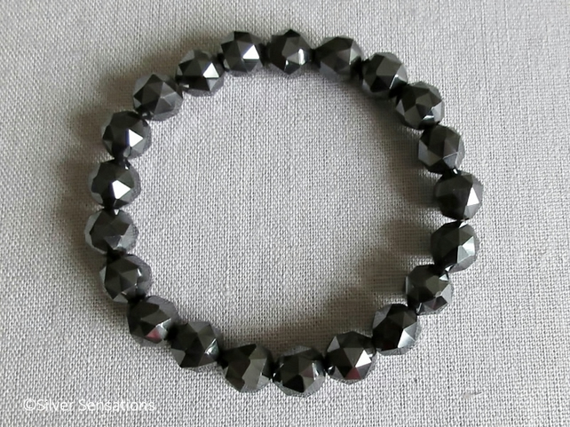 Grey Black Hematite Unusual Triangular Cut Round Beads Unisex Chunky Bracelet