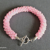 Pastel Baby Pink Kumihimo Seed Bead Fashion Bracelet Gift For Her