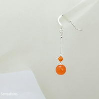 Bright Orange Jade Earrings With Swarovski Crystals & Sterling Silver