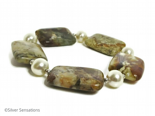 Marbled Browns Flake Jade, Cream Swarovski Pearls & Sterl Silver Unique Bracelet