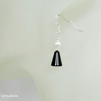 Black Onyx & White Swarovski Pearl Sterling Silver Drop Earrings