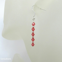 Pink Orange Swarovski Crystals & Sterling Silver Drop Earrings
