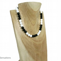 Black Onyx & Snow White Agate Beaded Sterling Silver Handmade Necklace
