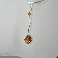 Swarovski Copper Cosmic Crystal & Sterling Silver Bar Pendant