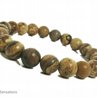 Brown & Beige Picture Jasper Beaded Medium Chunky Bracelet