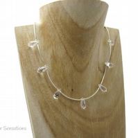 Faceted Swarovski Teardrop Crystals & Sterling Silver Curved Tubes Necklace