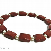 Faceted Brown Red Jasper Oblong Beads & Cream Swarovski Pearls Bracelet
