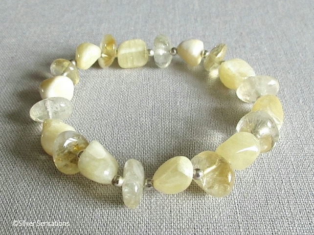 Pastel Yellow Calcite Nugget Beads, Citrine Nuggets & Sterling Silver Bracelet