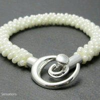 Pearly White Braided & Woven Kumihimo Seed Bead Fashion Bracelet