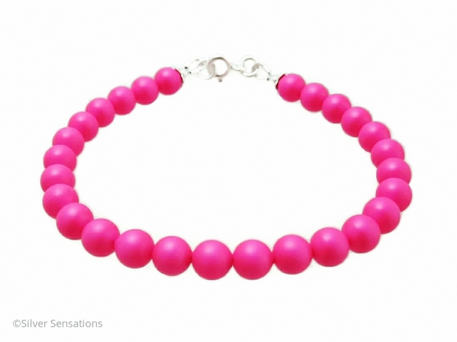 Bright Hot Neon Pink Pearls & Sterling Silver Summery Bracelet