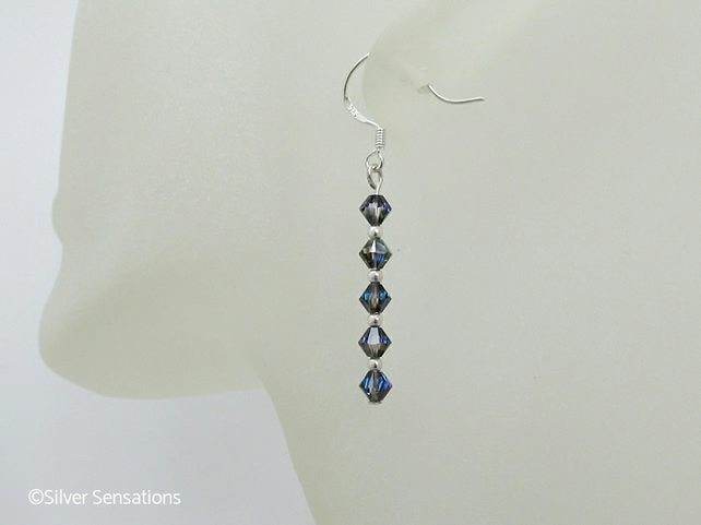 Swarovski Dark Rainbow Sparkly Crystals & Sterling Silver Slim Drop Earrings