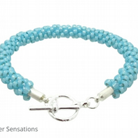 Light Turquoise Blue Braided & Woven Kumihimo Seed Bead Fashion Bracelet