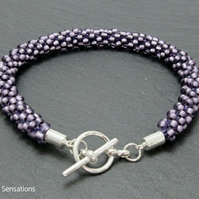 Frosted Satin Amethyst Purple Beaded & Woven Kumihimo Seed Bead Bracelet