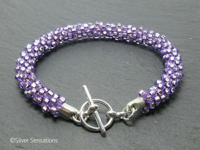 Silvery Pastel Lavender Purple Woven Kumihimo Seed Bead Fashion Bracelet