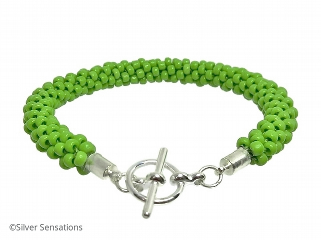 Hand Made Bright Lime Apple Green Beaded & Braided Woven Kumihimo Bracelet