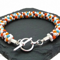 White & Multi Colours Kumihimo Seed Bead Fashion Bracelet