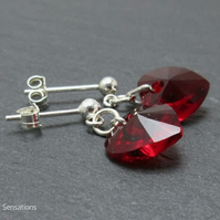 Ruby Red Heart Crystals & Sterling Silver Dangly Stud Earrings