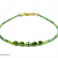 "Dainty Lime Green Seed Bead Boho Layering Fashion Bracelet - Sizes 6.5"" - 8"""