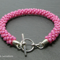 Bright Hot Pink Woven Kumihimo Seed Bead Fashion Bracelet Gift For Her
