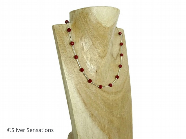 Elegant Rich Red Coral & Sterling Silver Tubes Designer Necklace