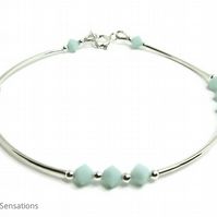 Sterling Silver Bangle Bracelet With Mint Green Swarovski Crystals