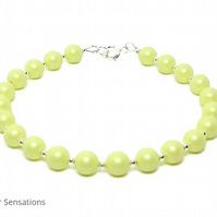 Lemon Yellow Pearl Bracelet With Sterling Silver and Swarovski Elements
