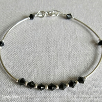 Jet Black Swarovski Crystals & Sterling Silver Curve Tubes Bangle Bracelet