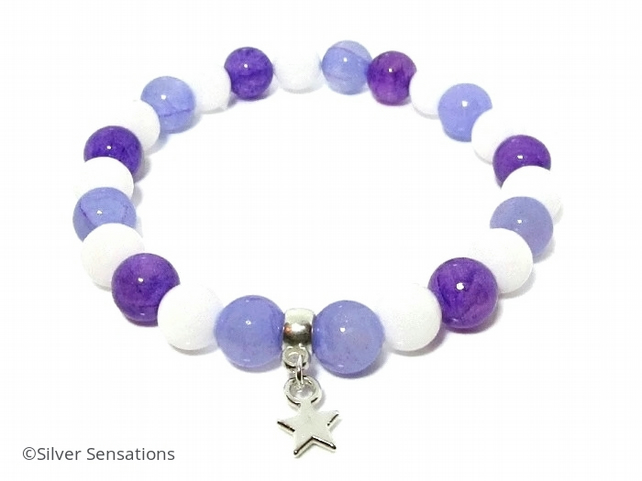 Purple Jade, Snow White Agate & Silver Star Charm Beaded Fashion Bracelet