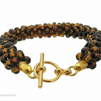 Golden Brown Dark Topaz Colour Seed Bead Kumihimo Fashion Bracelet