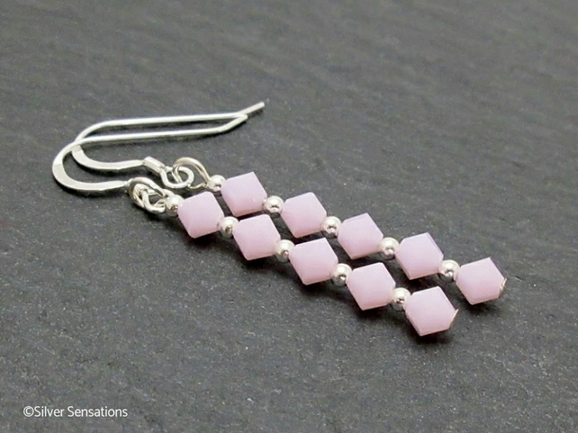 Pastel Pink Crystal Wedding Earrings With Sterling Silver & Swarovski Elements
