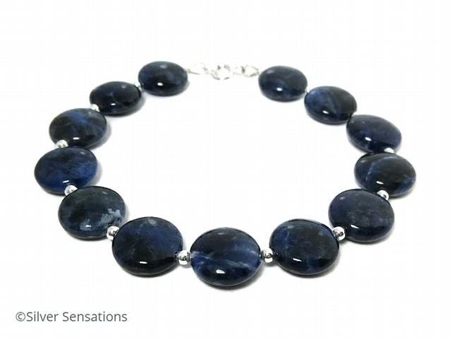 Navy Blue Sodalite Gemstones Bracelet With Sterling Silver - Unisex Gift