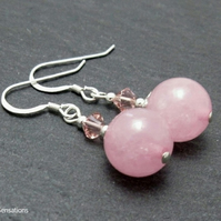 Pink Rose Quartz Earrings With Swarovski Crystals & Sterling Silver