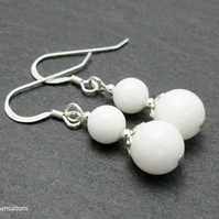 Brilliant White Agate Ladies Beaded Earrings With Sterling Silver