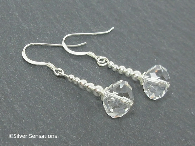 Faceted Clear Rock Crystal Rondelle & Sterling Silver Drop Earrings