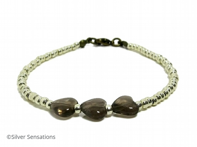 "Smokey Quartz Heart Beads & Seed Beaded Friendship Bracelet - 6.5"" - 8"""