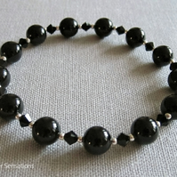 Black Onyx Gemstones & Sterling Silver Bracelet With Black Swarovski Crystals