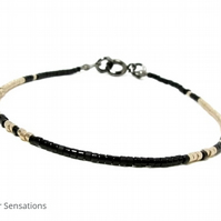 "Black & Pale Champagne Gold Seed Bead Fashion Stacking Bracelet - 6.5"" - 8"""