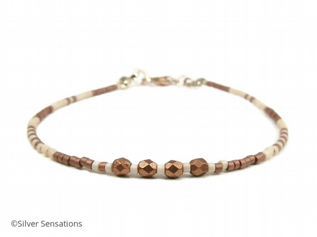 Slim Coffee & Cream Seed Beads Layering Beach Bracelet