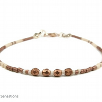 "Slim Coffee & Cream Seed Beads Layering Beach Bracelet - 6.5"" - 8"""