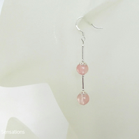 Peach Cherry Quartz & Sterling Silver Long Drop Earrings