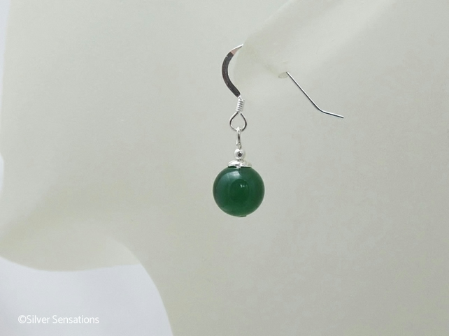 Green Onyx & Sterling Silver Short Drop Earrings