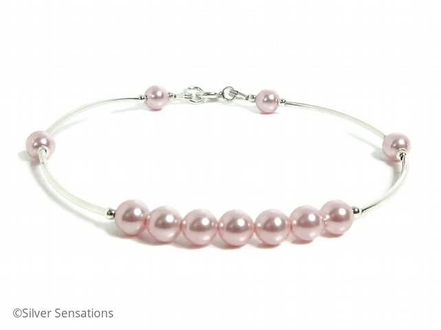 Pastel Pink Pearls & Sterling Silver Bangle Bracelet For Bridesmaids & Proms etc