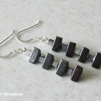 Black Triangle & Silver Hematite Cubes Sterling Silver Earrings