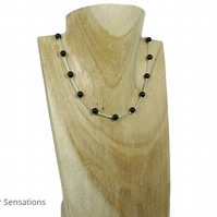 Elegant Black Swarovski Crystal Pearls & Sterling Silver Tubes Designer Necklace