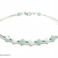 Mint Green & White Swarovski Crystals & Sterling Silver Bangle Bracelet